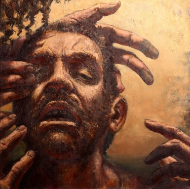 "Michael Buesking's oil-on-canvas, ""Healing of the Blind Man."""
